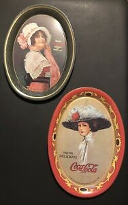 🔥Vintage 1973 Coca-Cola Oval Tin Advertising Tip Trays (x2). Free Shipping!!🔥