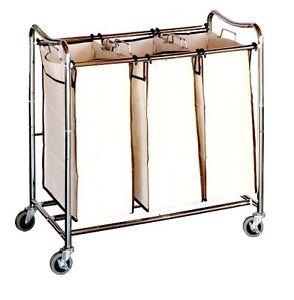 3 Bag Laundry Sorter Cart Heavy Duty Rolling Hamper