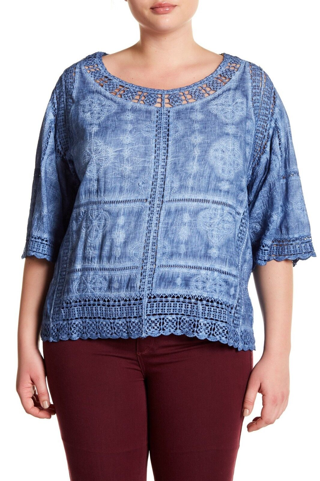 NEW NWT NWT NWT Democracy 100% Cotton Plus Size bluee Floral Print Crocheted Blouse 3X 604204