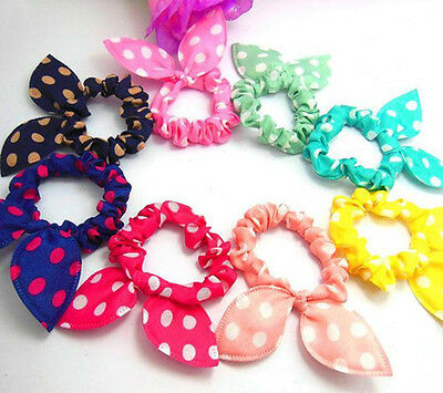 10PCS/LOT Rabbit Ear Hair Tie Bands Accessories fashion syle Ponytail Holder