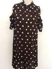 NEW WOMENS BLACK POLKA DOT COLD SHOULDER SHIRT DRESS SIZE UK 8