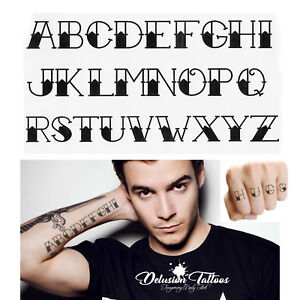 Letters Temporary Tattoos Set Alphabet Arm Finger Mens Womens Kids Black Ebay