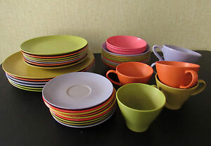 40 Piece Vintage Lot MELMAC Melamine Dishes Plates Bowls Cups Saucers