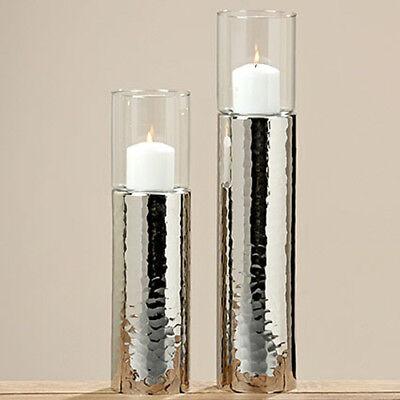 Windlicht Silber 48cm Teelicht-halter Kerzenhalter Kerzenleuchter Gehämmert Gisa Taille Und Sehnen StäRken