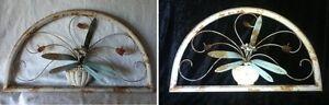 24-034-Metal-Door-Arch-Shab-Chic-Acrylic-Rose-Leaf-Urn-Garden-Rustic-Wall-Distress