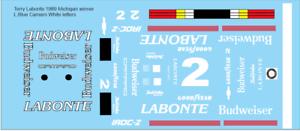 1989 Terry Labonte #2 Chevrolet Camaro IROC Series 1:24 decals Michigan Winner