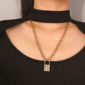 Womens-Mens-Padlock-Lock-Pendant-Punk-Choker-Chain-Necklace-Jewelry-Gold-Silver