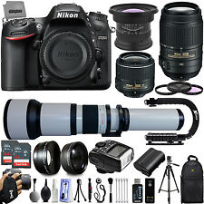 Nikon D7200 24.5 DSLR Camera + 15mm + 55-300mm + 650-1300mm 128GB 27 PC Lens Kit