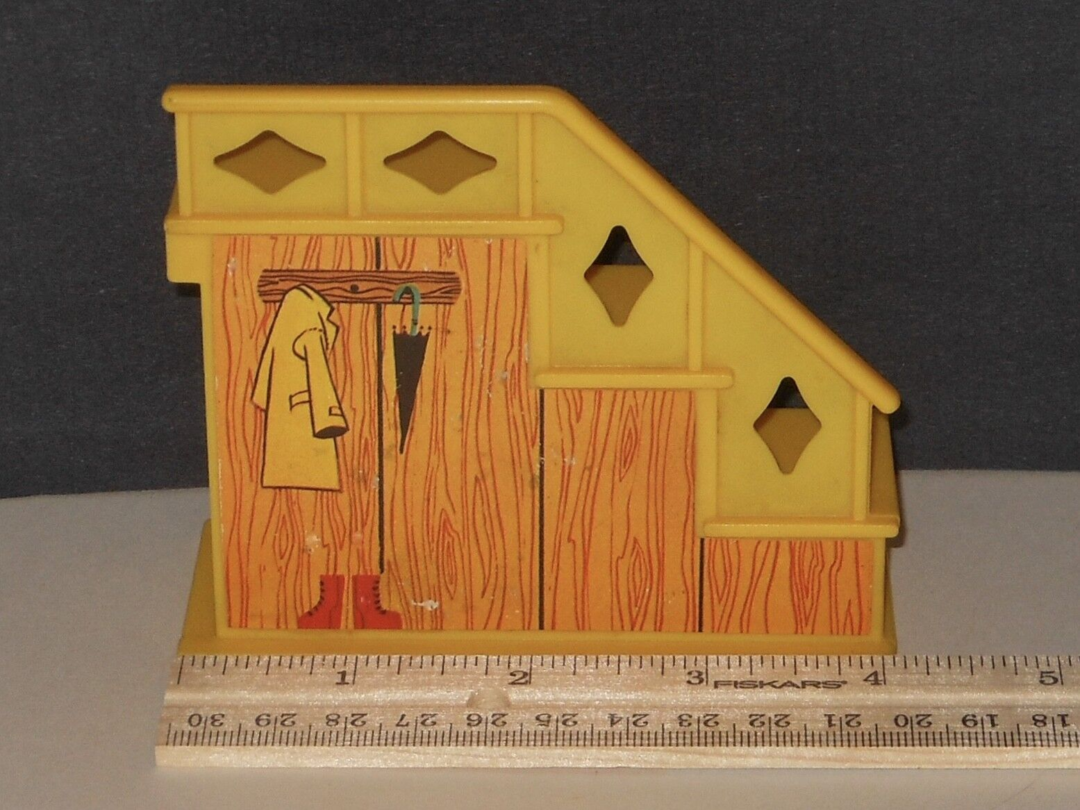 Vintage Fisher Price Little People Yellow Stairs Staircase For Brown House