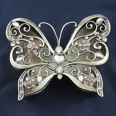 Trinket Box BUTTERFLY Pewter Jewelled Pink Crystals  Lift off lid 9cm