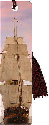 """""""Tall Ships"""" bookmark with tassel"""