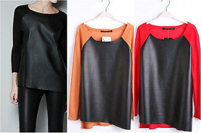 Ladies Womens Top PU Leather Shirt with Knitting Sleeves Blouse Sweater