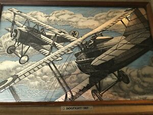 1917 DOGFIGHT WWI Etched Sterling Silver Franklin Mint Framed Fighter Planes