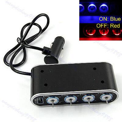 4 Way Port Car USB LED Cigarette Lighter Socket Splitter Charger Adapter DC 12V