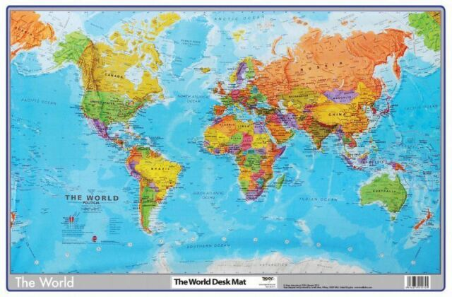 World map atlas desk mat 590 x 400mm durable writing pad mouse tiger world desk mat school office pad map atlas protective mouse earth surface gumiabroncs Choice Image