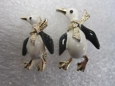 Vintage signed Gerry's pair of enamel penguin pins/brooches Christmas holiday