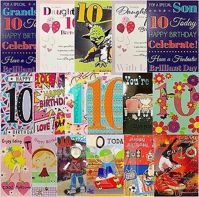 Panda 10th Birthday Card Girls Boys Son Daughter Grandaughter Grandson Friend