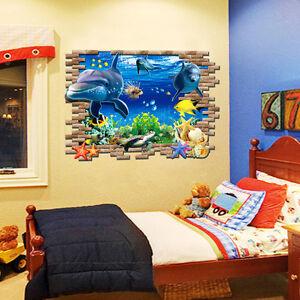 3d Wandtattoo Wandsticker Sticker Kinderzimmer Meer Unterwasserwelt Delphin 103 Ebay