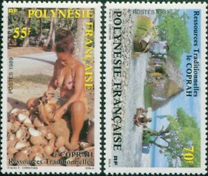 French-Polynesia-1989-Sc-505-506-SG555-556-Copra-Production-set-MLH