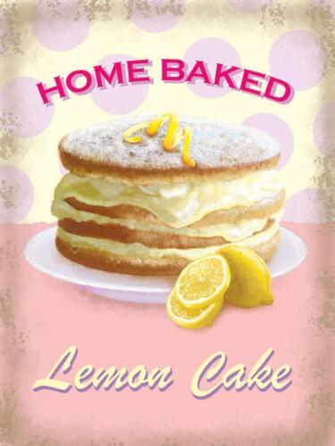 Retro Kitchen Small Metal//Steel Wall Sign Fresh Cream Lemon Cake Home Baked