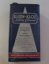 VINTAGE KLEEN KLOZ CLOTHES SAFETY CLEANER ADVERTISING CAN ~ PRAIRIE DU CHEIN WI.
