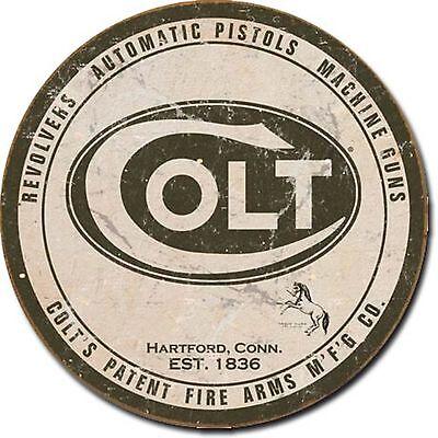 "Colt Logo Guns Rifles Metal Sign Tin New Vintage Style 11.75"" Round USA #1609"