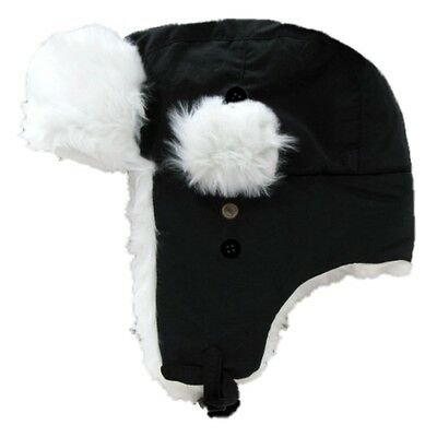 Black Aviator Bomber Faux Fur Winter Ski Trooper Trapper Ear Flap Hat Cap L/XL