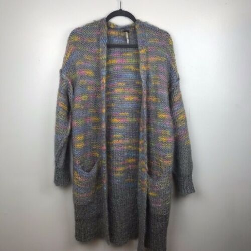 Free People Rainbow Striped Knit Sweater Gray Card