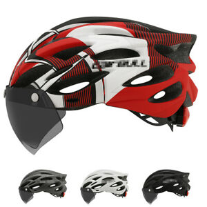 Ultralight MTB Bike Helmet Mountain Road Bicycle Helmet w/ Lens & brim taillight