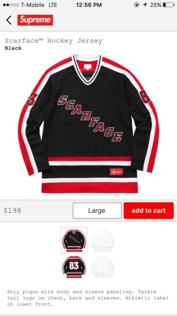 various colors 1d9ca f43d4 Supreme FW17 Scarface Hockey Jersey Black Brand New Size L Confirmed