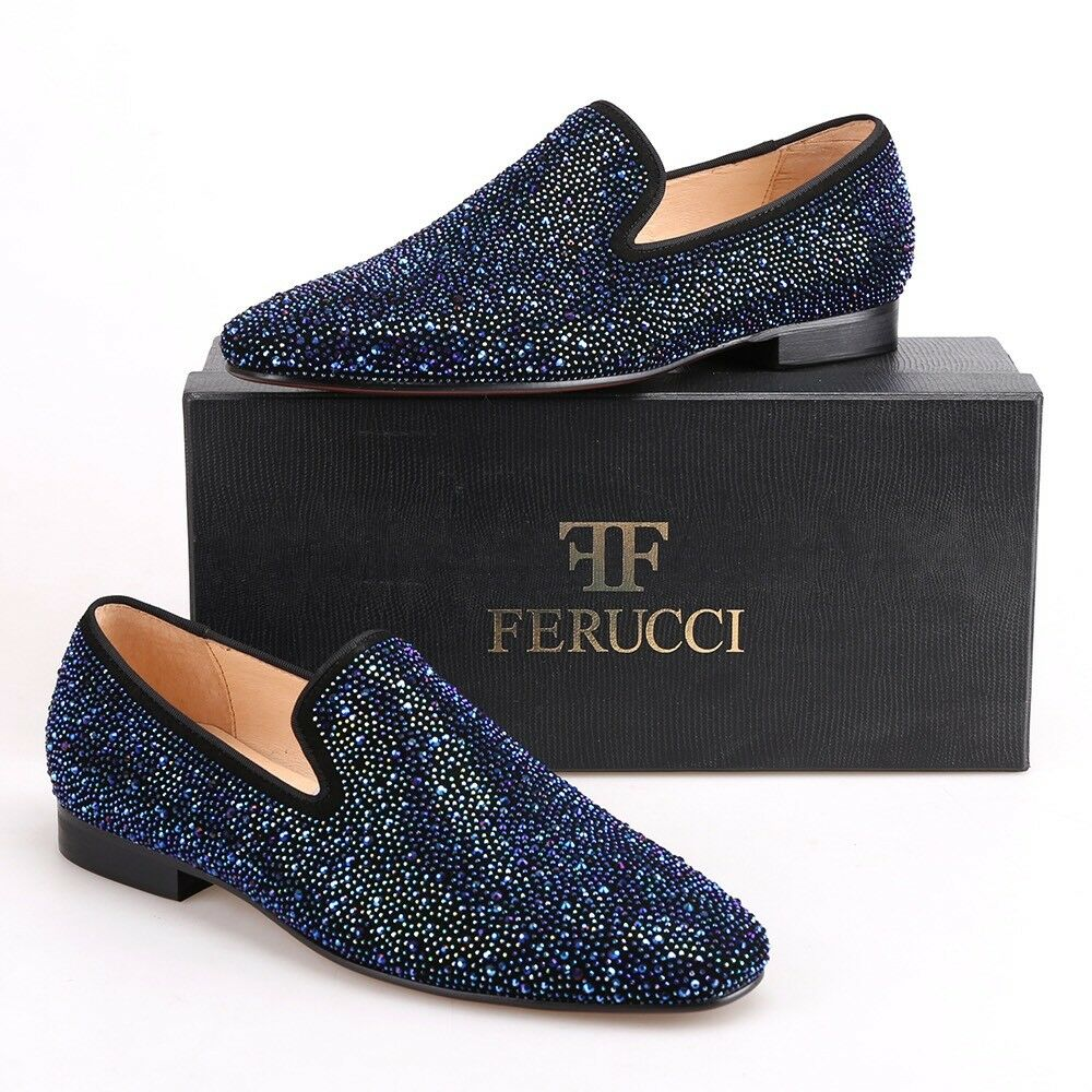 edizione limitata a caldo Men FERUCCI Slippers Loafers Flat Flat Flat With  blu Crystal GZ Rhinestone  merce di alta qualità e servizio conveniente e onesto