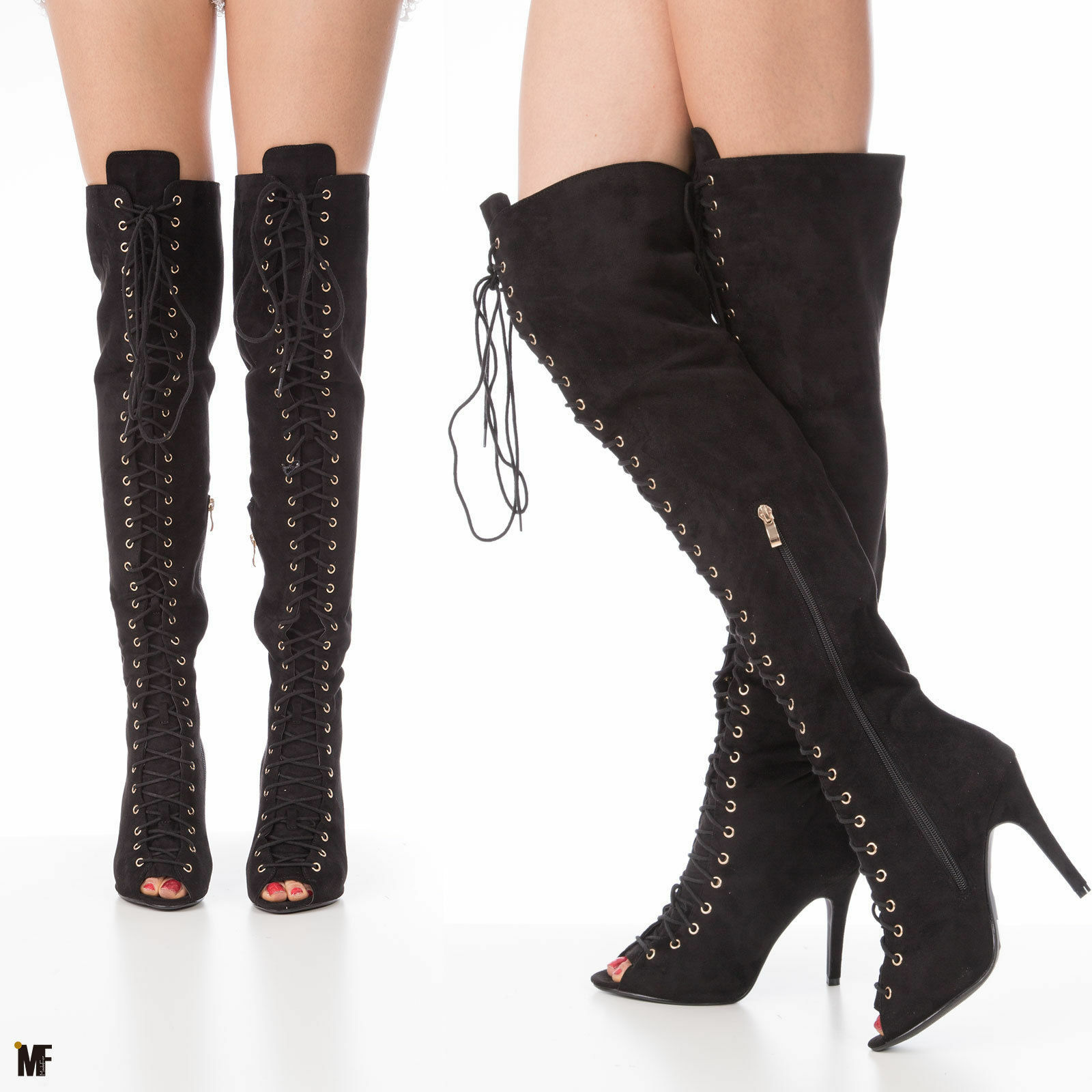 zapatos mujer botas coscia stringati open toe tacco alto 10  scamosciati 9097-3