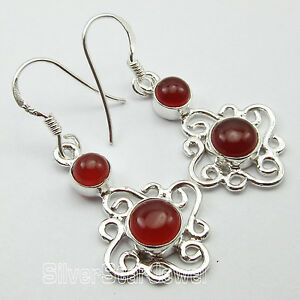 Earrings Intellective 925 Solid Silver Natural Red Carnelian Gemstone 3.9 Cm Earrings Birthday Gift To Ensure A Like-New Appearance Indefinably Jewelry & Watches