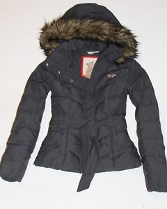 Details about HOLLISTER by Abercrombie Womens Vintage Down Puffer Jacket Coat Fur Trim Grey S