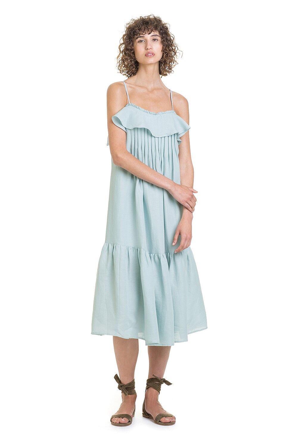 NWT  COUNTRY ROAD Frill Pintuck Linen Cotton Sun DRESS Mint  8 10 12 14 16