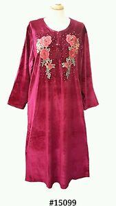 15099-Ladies-039-knitted-Velvet-multi-colour-embroidery-floral-long-kaftan-M