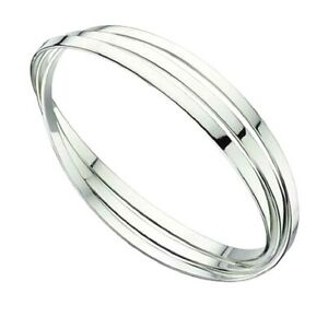 Sterling Silver Bangle Triple square section russian