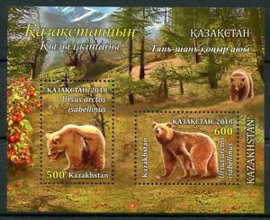 Kazakhstan-2018-neuf-sans-charniere-Himalayan-OURS-BRUN-2-V-M-S-arbres-animaux-sauvages-timbres