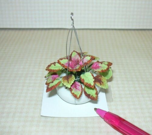 Clay Coleus Leaves Dk Red: DOLLHOUSE 1:12 Lime Green Miniature Hanging Basket