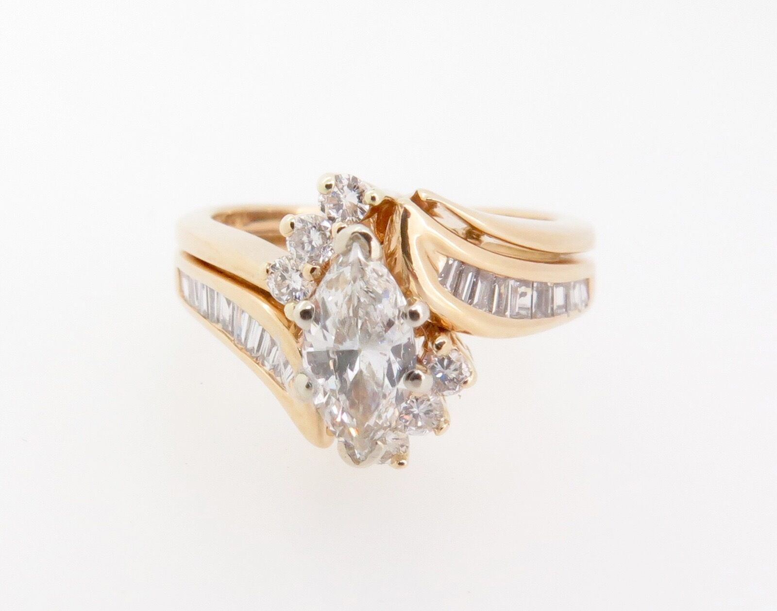 .Marquise Diamond 0.93ct Cluster 14k gold Double Ring Val  6815