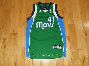 e4d9481f940b adidas DIRK NOWITZKI Green DALLAS MAVERICKS MAVS Youth NBA Team Sewn ...