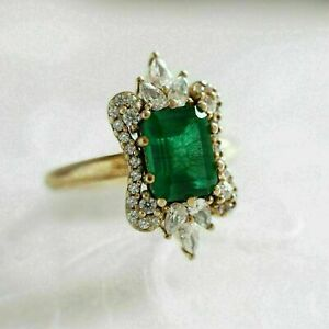3Ct-Emerald-Cut-Green-Diamond-Women-039-s-Engagement-Ring-14K-Yellow-Gold-Finish