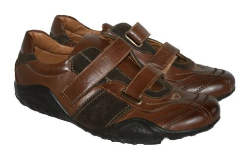 MENS BROWN TOUCH CLOSE STRAP SMART//CASUAL SHOE SIZE 6.5//40