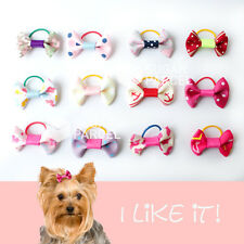 12 Pink x Pet Dog Cat Hair Bows Clips Barrette Rubber