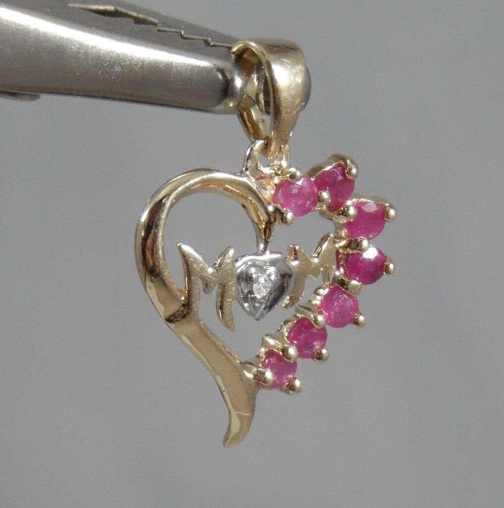 Estate 10 Karat Yellow & White gold Ruby & Diamond MOM Heart Pendant 10K J0760