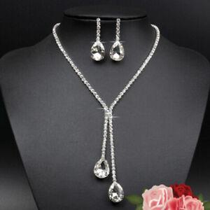 Rhinestone-Necklace-Earrings-Crystal-Water-Drop-Shape-Bridal-Jewelry-Best