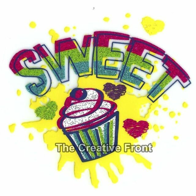 SWEET Cupcake - DIY Iron On Glitter T-Shirt Heat Transfer - NEW