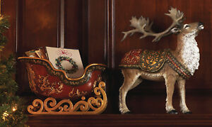 CHRISTMAS-DECORATIONS-SANTA-039-S-REINDEER-amp-SLEIGH-CHRISTMAS-CARD-HOLDER
