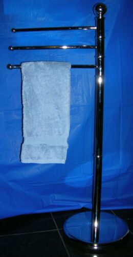 """NEW UHF 3 ARM STANDING TOWEL STAND FREE STANDING TOWEL RACK 36/"""" x 14/"""" CHROME"""