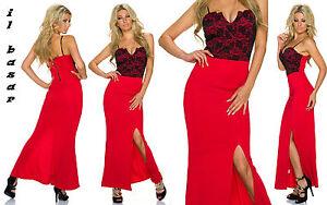 f15ee9735478 Caricamento dell immagine in corso vestito-donna-abito-rosso -lungo-spacco-laterale-inserto-